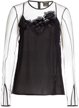 Versace Top with Sheer Overlay and Appliqué