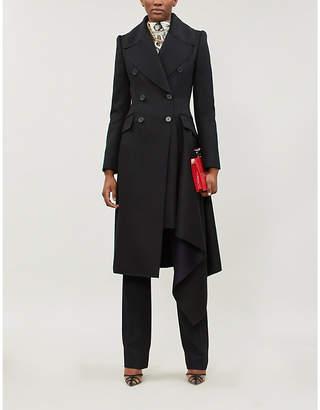 Alexander McQueen Draped asymmetric wool and cashmere-blend felt trench coat