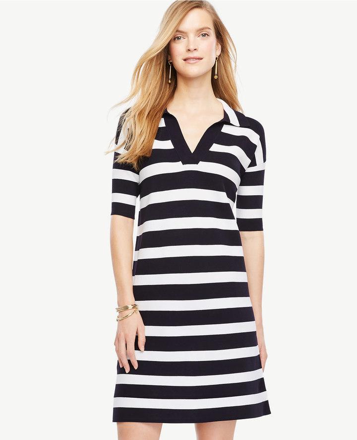 Ann TaylorStriped Polo Sweater Dress