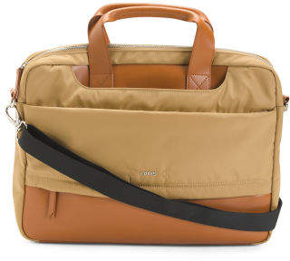Kate Alexus Rfid Briefcase With Leather Trim