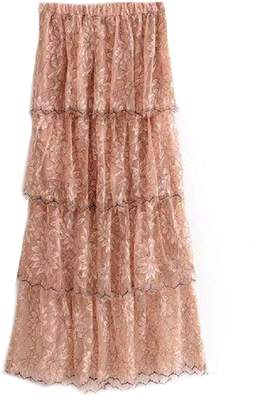 Goodnight Macaroon 'Cassandra' Pink Lace Peony Floral Pattern Layered Maxi Skirt
