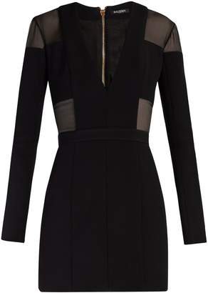 Balmain Sheer-panelled double-crepe mini dress
