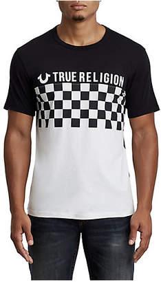 True Religion CHECKERED FOOTBALL CREW NECK TEE