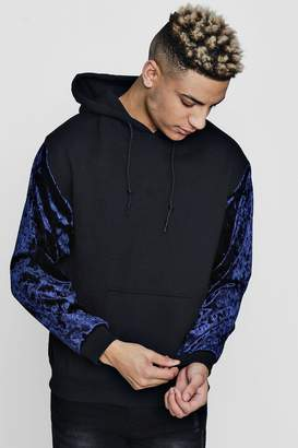 boohoo Over The Head Hoodie With Velour Sleeves