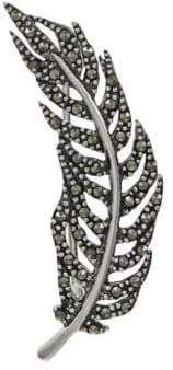 Lord & Taylor Marcasite Feather Brooch