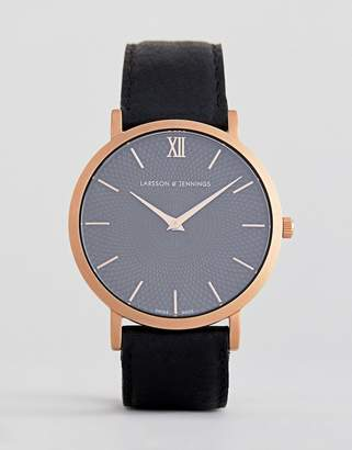 Larsson & Jennings Sloane Leather Watch In Black 40mm