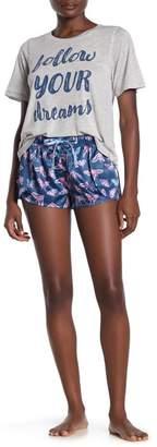 Munki Munki Moth Print Satin Pajama Shorts