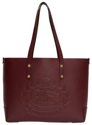 Burberry Embossed Crest Small Leather Tote