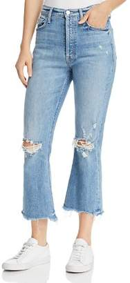 Mother Tripper Distressed Cropped Flared Jeans in Misbeliever