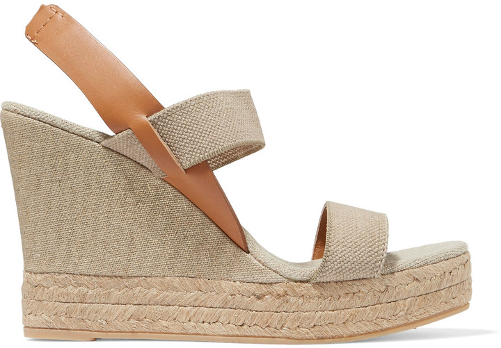 Tory Burch Tory Burch Canvas and leather wedge sandals