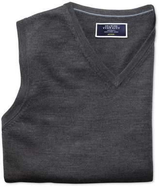 Charles Tyrwhitt Charcoal Merino Wool Sweater Vest Size Large