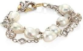 John Hardy Legends Naga 10MM White Baroque Pearl& White Moonstone Triple Row Bracelet
