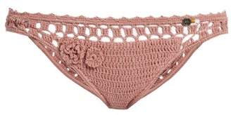 She Made Me Jannah Cheeky Crochet Bikini Briefs - Womens - Light Pink