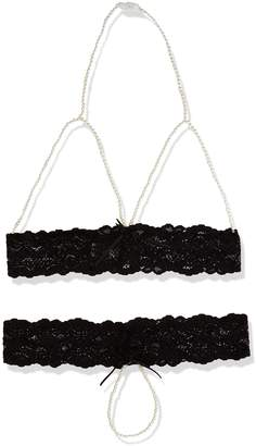 Rene Rofe Women's Pearl Necklace Bra and G-string Set