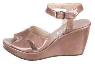 AGL Patent Leather Wedge Sandals