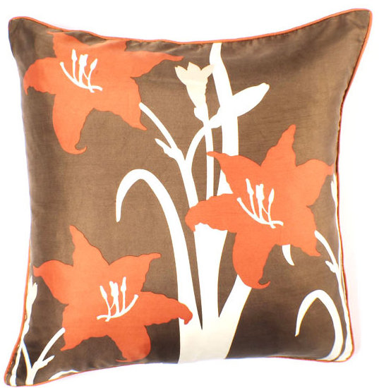 Thomaspaul - Brown / Orange Silk Pillow