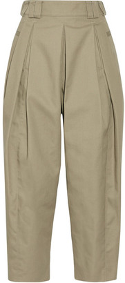 Alexander Wang - Cropped Pleated Twill Tapered Pants - Mushroom $525 thestylecure.com