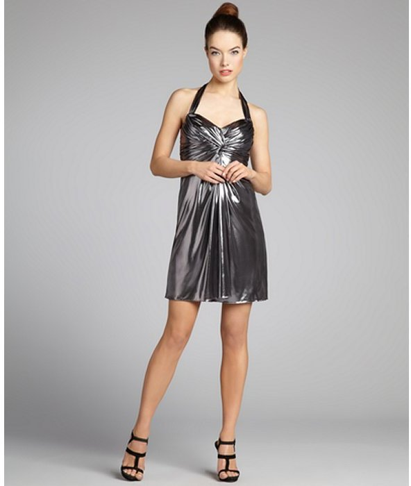 Phoebe Couture silver sheen jersey knit shirred sweetheart halter party dress
