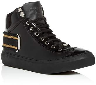 Jimmy Choo Men's Argyle Leather High-Top Sneakers
