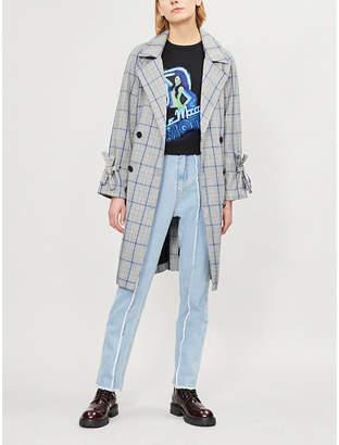 Izzue Checked waist-tie woven coat