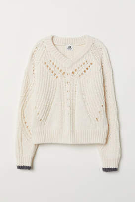 H&M Textured Wool-blend Sweater - White