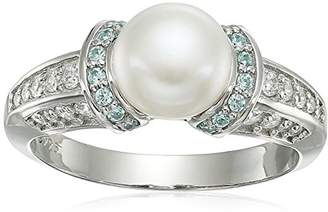 Swarovski Platinum Plated Sterling Silver Freshwater Pearl with Zirconia Accents Ring