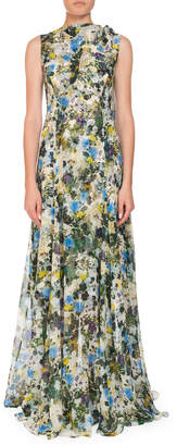 Erdem Kassidy Meadow-Print Silk Tie-Shoulder Gown