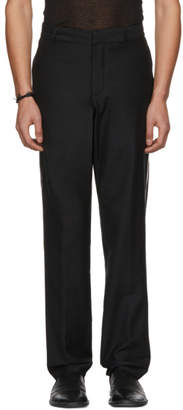 Ann Demeulemeester Black Wool Contrast Piping Trousers