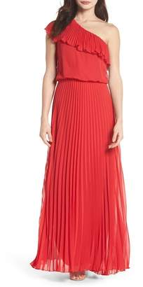 Xscape Evenings One-Shoulder Pleat Chiffon Gown