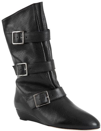 Loeffler Randall Cale Short Flat Buckle Boot in Black Vachetta