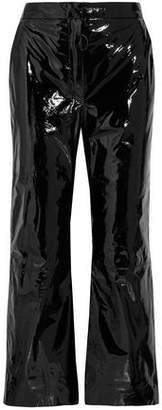 Off-Whitetm Cropped Suede-Appliquéd Patent-Leather Wide-Leg Pants