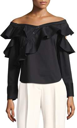 Laundry by Shelli Segal Women's Ruffled Off-The-Shoulder Top