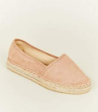 New Look Wide Fit Nude Suedette Piped Trim Flatform Espadrilles