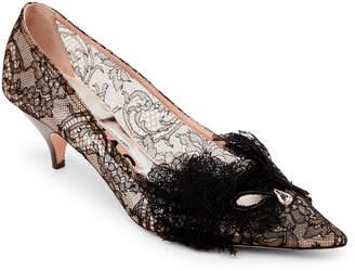 Rochas Black Lace Pointed Toe Kitten Heel Pumps