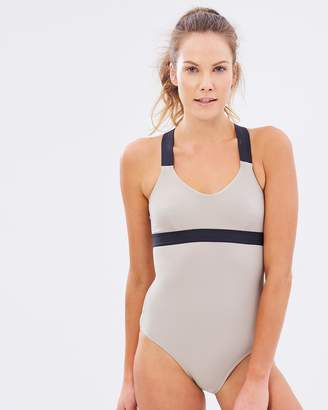 Running Bare Demi-Plié Cross-Back Bodysuit
