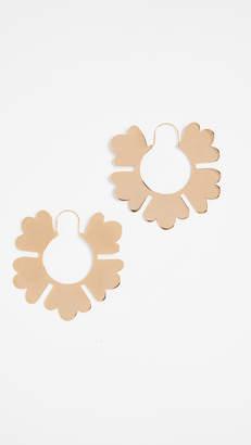 Tory Burch Geo Flower Hoop Earrings