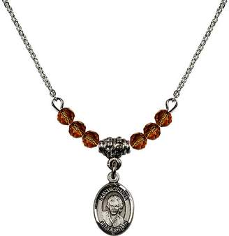 Beretta Bonyak Jewelry Saint Necklace Collection 18-Inch Rhodium Plated Necklace with 4mm Yellow November Birth Month Stone Beads and Saint Gianna Molla Charm