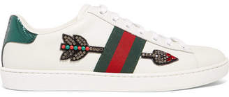 Gucci Ace Watersnake-trimmed Crystal-embellished Leather Sneakers - White