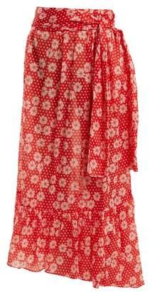 Lisa Marie Fernandez Nicole Floral Print Asymmetric Hem Skirt - Womens - Red Multi