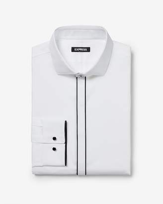 Express Slim Fit Piped Tuxedo Dress Shirt