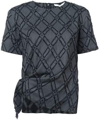 Derek Lam 10 Crosby Short Sleeve Top with Knotted Hem