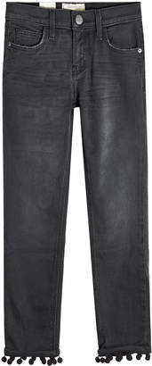 Current/Elliott Cropped Straight Jeans with Pom-Pom Trim