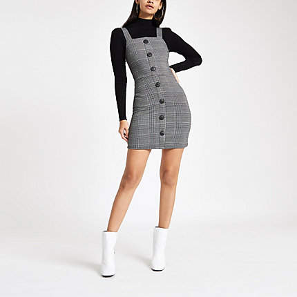 Womens Grey check button up pinafore mini dress