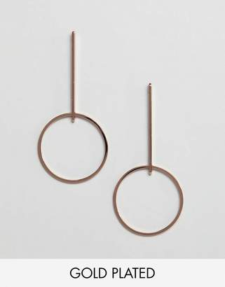 Pilgrim rose gold plated hoop drop earrings