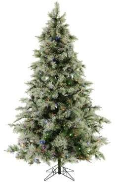 clear Fraser Hill Farms Nine-Foot Glistening Holiday Pine Tree with Pine Cones, LED Lights and EZ Connect