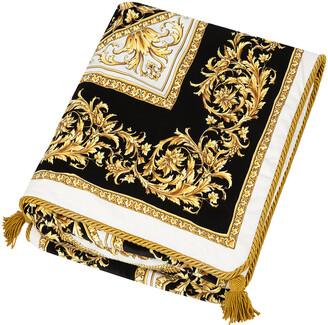 Versace Pamir Plaid Bedspread - Black/White/Gold
