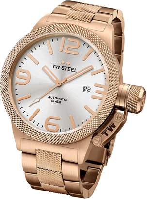 TW Steel CB166 Men's Canteen Bracelet Automatic Silver Dial Rose Gold Steel Watch