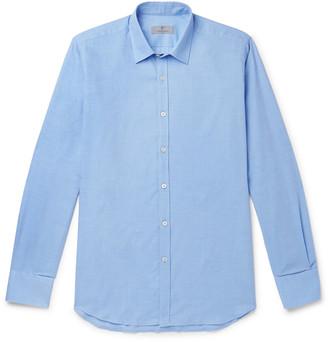 Canali Blue Cotton And Cashmere-Blend Shirt