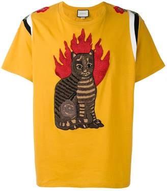 Gucci flame tabby cat motif t-shirt