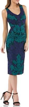 JS Collections V-Neck Colorblock Soutache Sheath Dress